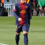 Gerard Deulofeu in 2012 Barca kit with one red stripe